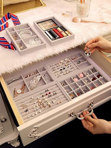 MUY New Fully Wrapped VelvetJewelry Display Schublade Smart Storage Tray Schmuckhalter Kosmetik Box Makeup Organizer für Frauen