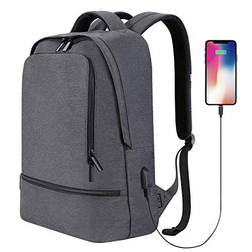Reyleo Business Backpack Men's Waterproof 14.1 inch Laptop Notebook Netbook Tablet Pc Sleeve Carrying Bag Case and City, Grey