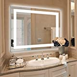 HAUSCHEN HOME LED Lighted Vanity Bathroom Mirror 28 x 36 inch, Wall Mounted + Anti Fog & Dimmer Touch Switch + IP44 Waterproof + 5500K Cool White + CRI90 + Vertical&Horizontal