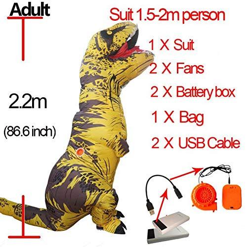 GBYAY Cosplay Fantasy Mascot t Disfraz para Hombres Adultos Halloween Inflable Raptor Dinosaurio T Rex Disfraz para niño Mujer