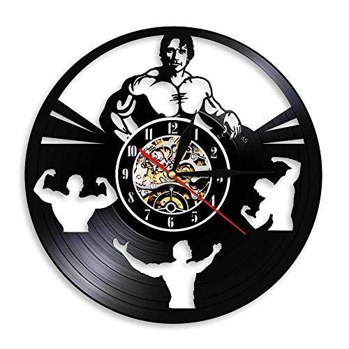 Reloj de Pared Moderno silencioso, Reloj de Pared Retro Record, Decoración de Dormitorio de Estudio de Sala de Estar, decoración del hogar.Hombre Culturista