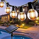 Guirnalda Luces Exterior Solar, Qxmcov 7.6 m Cadena de Luz 25 G40 LED Bombillas con 1 de Carga, Guirnaldas Luminosas Exterior e Interior Decorativas para Jardin Terraza Habitacion Fiestas Navidad