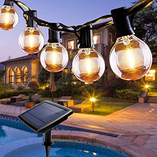 Solar Lichterkette Außen, Qxmcov 7.6M LED Lichterkette Aussen Glühbirne mit 25 Stück Glühbirnen und 2 Ersatzbirnen, Deko Licht für Innen, Garten, Bäume, Terrasse, Hochzeiten, Partys, Warmweiß