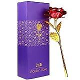 Rosa 24 K Chapado en Oro Rosa, La flor Rosa Artificial es un Regalo para la Novia y la Esposa, día de San Valentín, día de la Madre, Aniversario, Cumpleaños, Boda,