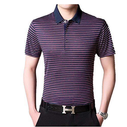 Summer New Herren T-Shirt Maulbeerseide Revers Short Sleeve Factory Outlet Gr. 56, rot