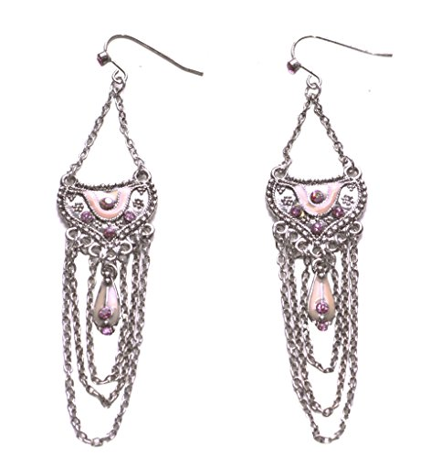 Layla cromado cadena/Blush Rosa Diamantes y Beige esmalte detalle lámpara de araña...