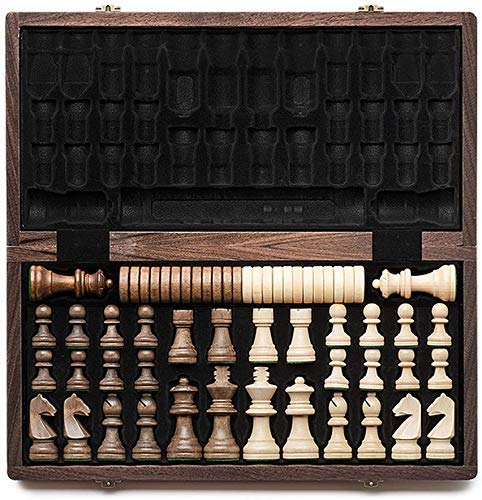 WCY Schachbretter Sets 38cm * 38cm Standardwettbewerb International Schachspiel Massivholz Falten Holzschachbrett 34 Schachfiguren yqaae