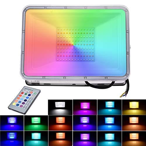 100W RGB Luces de Inundación del LED con Función de Memoria 16 Colores 4 Modos Focos IP66 Iluminación Exterior para Jardín, Paisaje, Escenario