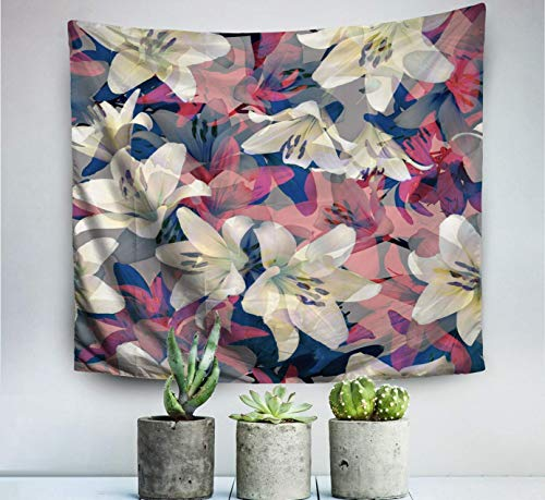 Home Art Decor Wall Hanging Tapestry Tropical Background Palm Leaves Floral Pattern Summer with for Living Room Dorm Background Tapestries,Beige Red