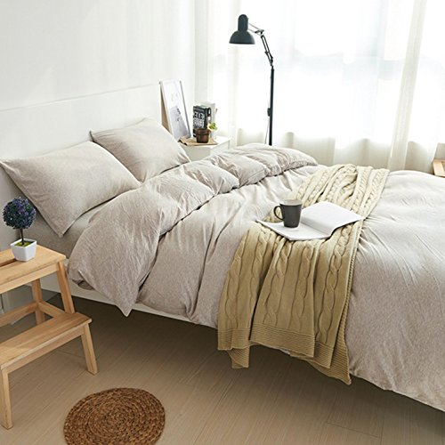 Adyonline 3 Pcs Jersey Cotton Comforter Cover Set Solid Pattern(1 Duvet Cover,2 Pillow Shams) Home Bedding Set for All Seasons-Breathable&Ultra SoftLight Coffee,King