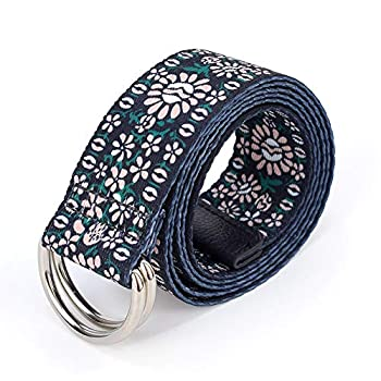 LifeMate Mens Womens Casual Long Double D-Ring Canvas Adjustable Waist Belt Buckle 1.5  Wide with Black Leather Tip(style 15)