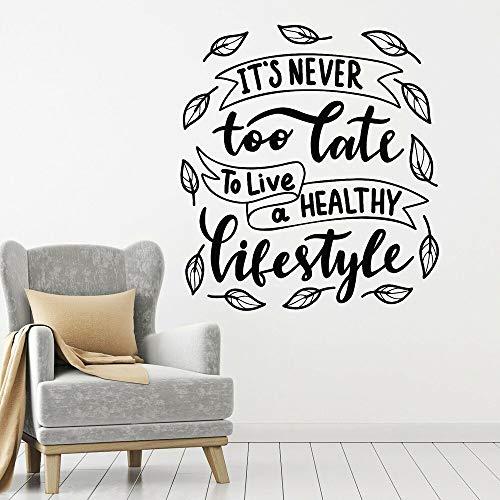 Las calcomanías de pared de estilo de vida nunca son demasiado tarde para vivir una vida saludable hoja de arte pegatinas de ventana de vinilo dormitorio sala de estar decoración del hogar