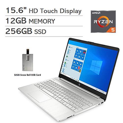 "2020 HP Pavilion 15.6"" HD Touchscreen Laptop Computer, AMD Ryzen 5 Processor, 12GB RAM, 256GB PCIe SSD, HD Webcam, HDMI, AMD Radeon Vega 8 Graphics, Win 10S, Natural Silver, 32GB Snow Bell USB Card"