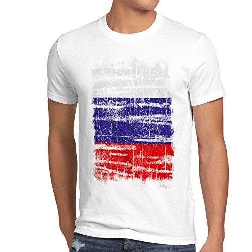 Russland Vintage Flagge Herren T-Shirt Russia EM WM Olympia, Größe:S, Farbe:Weiß