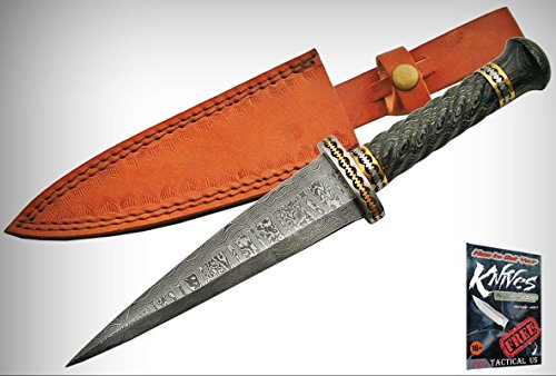 """FIXED-BLADE DAGGER 12"""" Damascus Steel Double Edge Cinquedea Short Sword Elite Knife + free eBook by ProTactical'US"""