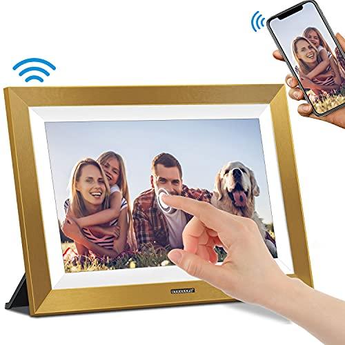 Cornice Digitale WiFi DUODUOGO Cornice Digitale Intelligente da 10 Pollici con 1920x1200 IPS Display Touch Screen, Memoria da 16 GB Condividi Foto e Video Istantaneamente Tramite App (Oro)