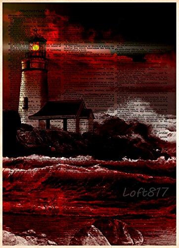 Lighthouse on cliff, creepy light house, red an black themed nautical decor