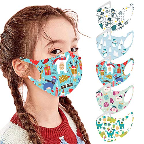 QianWen 5PC Children Christmas Snowman, Santa Claus Print Mouth Protection Washable Windproof Antidust Face Covering with Earloop Reusable Back to School for Outdoor Activity Breathable Face Guard