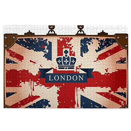 KIMDFACE Rompecabezas Puzzle 1000 Piezas,Maleta de Viaje Vintage con Imagen de Cinta y Corona de Bandera británica de Londres,Puzzle Educa Inteligencia Jigsaw Puzzles para Niños Adultos