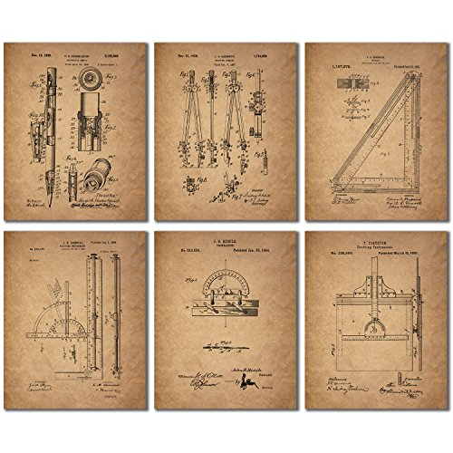 Architect Drafting Patent Prints - Set of 6 (8 inches x 10 i...