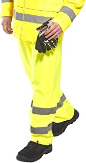 Portwest H441YERL Hi-Vis Safety Waterproof Rain Pants, Large, Yellow