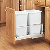 Rev-A-Shelf 5349-1527DM-2 Double 27 Quart Kitchen Base Cabinet Pull Out Waste Container, Gray/White