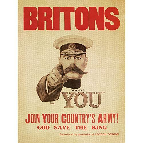Poster da parete con pubblicità iconica di Leete War WWI UK Kitchener Britons, grande stampa artistica da parete, 45,5 x 50,8 cm