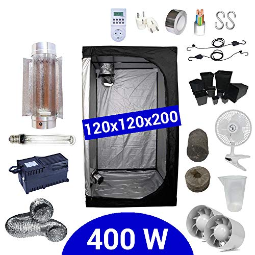Kit Coltivazione Indoor 400W HPS Cooltube Protube - Grow Box 120x120x200 - Alimentatore ETI 2