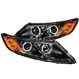 AnzoUSA 121460 Black/Clear/Amber Halogen Projector Headlight for Kia Optima