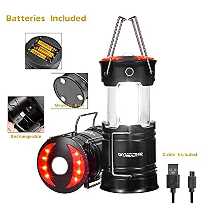 WONDERER 2 Pack Rechargeable led Lanterns,4-in-1 Camping Lantern with USB Cable and Battery Operated, Portable Collapsible Flashlight with Magnetic Base