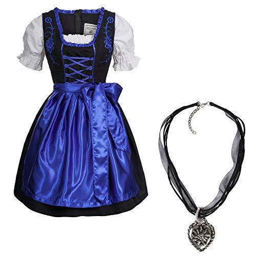Mufimex Dirndl Set 4 TLG. Trachtenkleid schwarz mit Stickerei 5 ver. leuchtende Farben mit Halskette Dunkelblau 46