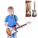 エレキギター初心者向けの6弦セット。ストラップとマイク、多機能の接続可能な電子機器を含み、子供たちの音楽的興味を刺激し、子供たちに美しい贈り物を与えます