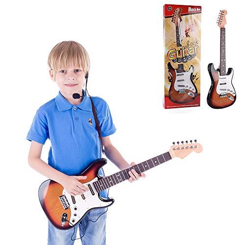YUSDP Anfänger 26 Zoll 6-saitige E-Gitarren-Sets, mit Gurt und Mikrofon, anschließbares elektronisches Gerät, Musikinteresse für Kinder entwickeln