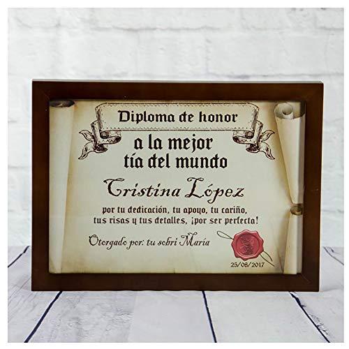 Calledelregalo Diplomas pergamino Personalizados para Todos los destinatarios (A la Mejor tía) con Marco
