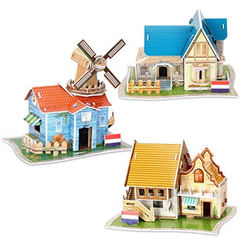 FYY - Puzles 3D para niños, 3 paquetes de juguetes para manualidades y manualidades