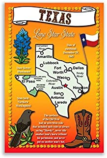 TEXAS STATE MAP postcard set of 20 identical postcards. Post cards with TX map and state symbols. Made in USA.