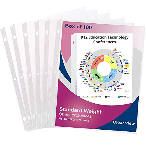 Page Protectors 8.5 x 11 Sheet Protectors 100PCS Top Loading Page Protectors fits 3 Ring Binder Plastic Clear-Sheet-Protectors-Page-Protectors for 3 Ring Binders