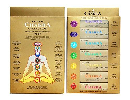 GJ-BOON - Varillas de incienso de colección natural de chakras Varillas de incienso de siete...
