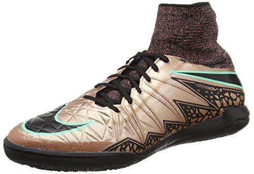 Nike Herren Hypervenomx Proximo IC Fußballschuhe, Gold/Schwarz/Grün (MTLC Brnz Rd/Blk-Weiß-Grn GLW), 44 1/2 EU