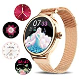 Smart Watch for Android Phone, Yohuton 1.1 Inch Full Touch IPS Color Screen Fitness Tracker Activity Tracker IP67 Waterproof Heart Rate Monitor Fitness Watch Compatible with iOS and Android (Gold)