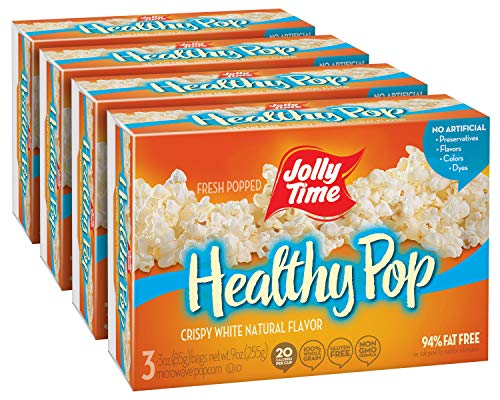 JOLLY TIME Healthy Pop Crispy 'N White | Low Calorie Microwave Popcorn - Natural Vegetarian Food with No Sugar or Cholesterol, 94% Fat Free (3-Count Box, Pack of 4)