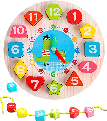 TOHIBEE Wooden Shape Sorting Clock – Teaching Time Number Color Blocks Shape Puzzles Stacking Sorter Jigsaw Montessori Early Learning Educational Toys Gift for 1 2 3 Year Baby Toddler Kids