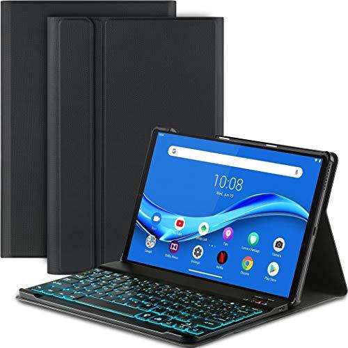 EasyAcc Tastatur Hülle Kompatibel mit Lenovo Tab M10 FHD Plus (2nd Gen) 10.3, Beleuchtete Tastatur Magnetische Kabelloser Bluetooth Abnehmbare Deutsche QWERTZ Schutzhülle TB-X606F/TB-X606X, Schwarz