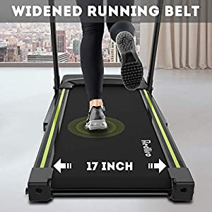 REDLIRO Foldable Treadmill for Home Easy Assemble Electric Motorized Portable Running Jogging Machine with 3 Levels Manual Incline Wide Belt 12 Preset Program for Cardio Exercise