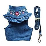 CheeseandU - Arnés para perros y gatos, con correa a juego, diseño vintage, color azul vaquero y bordado de flores, estilo princesa, correa ajustable para el pecho, arnés para cachorro y gatito