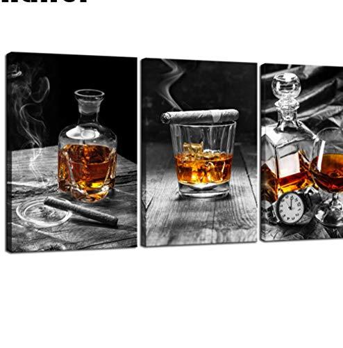 ZKPYY sigaar whisky diamant schilderij stilleven DIY-effect decoratie 5D diamant borduurwerk mozaïek 50 * 70x3pcs