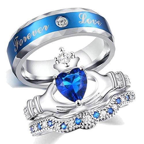 AnazoZ Anillo Claddagh Corazón con Corona Forever Love Circonita Azul Anillo Chapado en Oro Hombre Anillo Plata Azul Talla de Anillo 30
