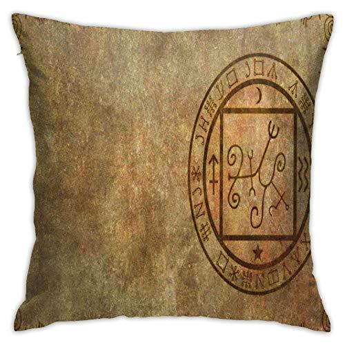 SHUJIA Kissenbezug Kissenbezug, altes strukturiertes mystisches okkultes Siegel-Siegel-Symbol über verzweifeltem altem Hintergrund-Design-Druck, 18x18 Zoll
