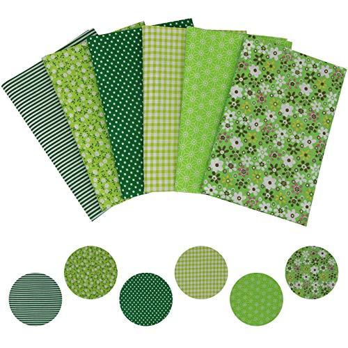 aufodara 6 Stück 50 x 75 cm Grün Baumwollstoff Stoffpakete Groß Patchwork Stoffe Baumwolle, Stoffe zum Nähen, Patchwork Stoffpaket zum Quilten DIY Basteln Handwerken