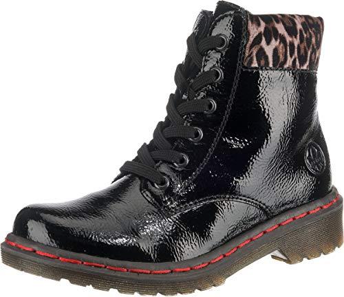 Rieker Damen Stiefel Y8212, Frauen Winterstiefel, Winter-Boots schnürstiefel gefüttert warm Damen Frauen Lady,Black/Leo-Ginger,36 EU / 3.5 UK